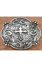 AndWest Antiqued Silver Scrolling with Cross and Stars Belt Buckle