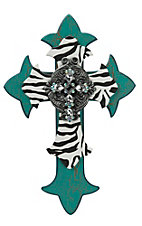 M&F Turquoise & Zebra Decorative Wooden Multi-Dimensional Wall Cross