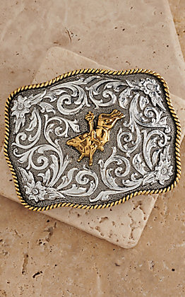 AndWest Antiqued Silver Scrolling with Gold Bull Rider Belt Buckle