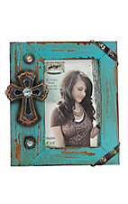 M&F Distressed Turquoise with Cross 4x6 Picture Frame