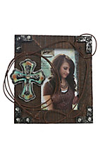 M&F Western Products Wood with Turquoise Cross & Rope Verticle 4x6 Frame