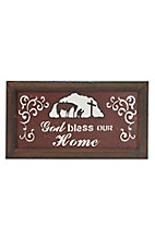 M&F God Bless Our Home Rustic Mirrored Plaque