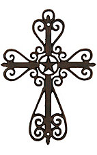 M&F Western Products Metal Swirls and Star Wall Cross