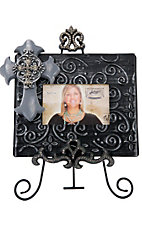 M&F Western Products Black Picture Frame with Cross and Crystal Easel 2 Piece Set