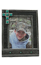M&F Western Products Black Croc with Turquoise Cross Frame 5x7