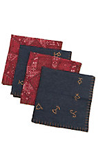 M&F Western Products Branded Denim and Red Bandana 4 Piece Napkin Set