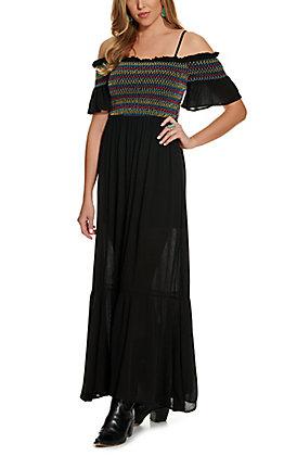 Savanna Jane Women's Black Smocked Off Shoulder Maxi Dress