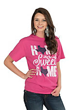 Women's Pink with Home Sweet Home Screen Print Short Sleeve T-Shirt