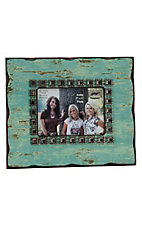 M&F Distressed Turquoise with Rhinestone Border 5x7 Picture Frame