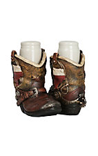 M&F Brown Boot Texas Salt and Pepper Shaker Caddy