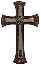 M&F Western Moments Brown with Mirror and Turquoise Concho Wall Cross