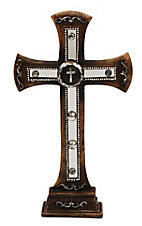 M&F Western Moments Brown Table Top Cross with Concho and Mirror Inlay