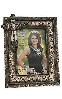 M&F Western Products Antique Brown Scroll with Love Cross Frame 4x6