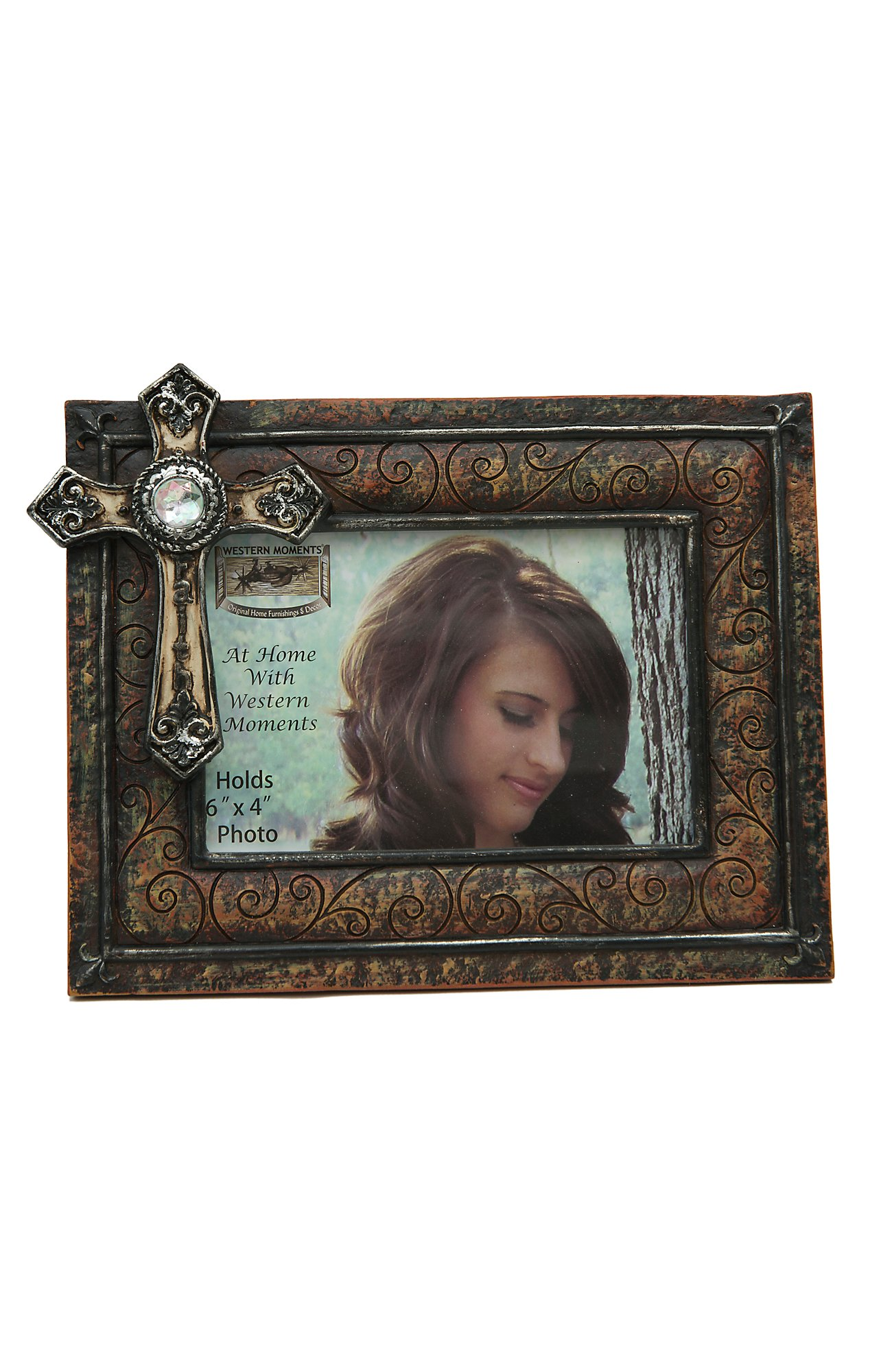 Mf Western Products Antique Brown Scroll W Faith Cross Frame 4x6
