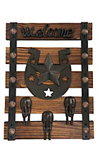 M&F Rustic Welcome Hanging Coat Rack