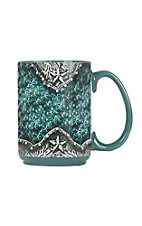 Western Moments Teal Tooled Stars Oversized Mug