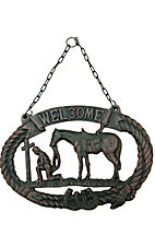 M&F Western Products Christian Cowboy Welcome Cast Iron Sign