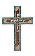 M&F Turquoise Wood Layered Wall Cross