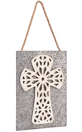 Western Moments Metal with Wooded White Cross Hanging Wall Decor