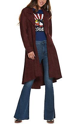 Ethyl Women's Burgundy Faux Suede Long Sleeve Duster Jacket