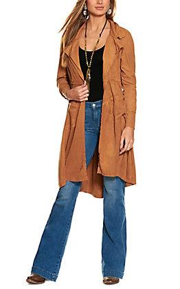 Ethyl Women's Cognac Brown Faux Suede Long Sleeve Duster Jacket