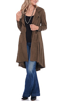 Ethyl Women's Brown Faux Suede Long Sleeve Duster