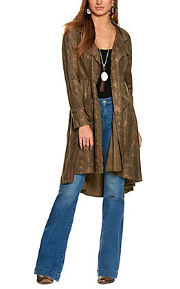 Ethyl Women's Olive with a Metallic Snake Print Faux Suede Long Sleeve Duster Jacket