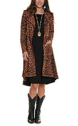 Ethyl Women's Brown and Black Leopard Print Faux Suede Long Sleeve Duster Jacket