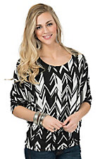 Renee C. Women's Black & White Print 3/4 Sleeve Dolman Sleeve Top