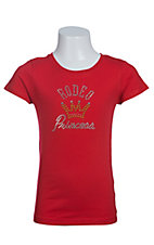 09 Apparel Girls Red with Rhinestud Rodeo Princess Short Sleeve Tee