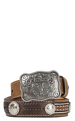 Cavender's Brown Ribbon Overlay Lacing Western Belt 9600244