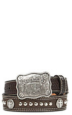 Cavender's Chocolate Basket Weave with Cross Conchos Western Belt 9600802