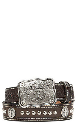 Cavender's Chocolate Basket Weave with Cross Conchos Western Belt
