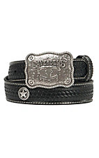 Cavender's Black Basket Weave with Star Conchos Western Belt  9601001