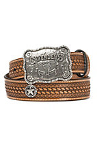 Cavender's Natural Basket Weave with Star Conchos Western Belt 9601048