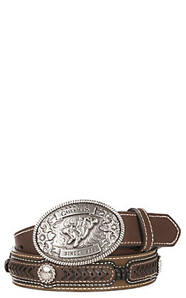 Cavender's Children's Brown with Lacing Conchos and Oval Bull Rider Buckle Western Belt