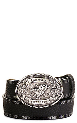 Cavender's Kids' Black with Oval Bullrider Logo Buckle Western Belt