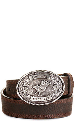 Cavender's Kids' Brown with Oval Bullrider Logo Buckle Western Belt
