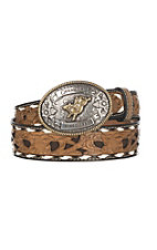 Cavender's Children's Brown w/ Chocolate Inlay and White Lace Western Belt
