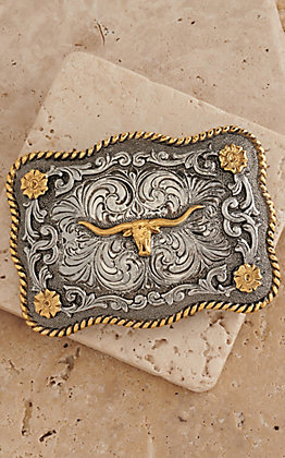 AndWest Antiqued Silver Scrolling with Gold Texas Longhorn Belt Buckle