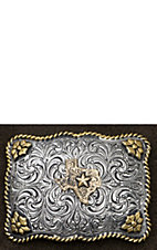 AndWest Antiqued Silver Scrolling with Gold State of Texas Belt Buckle