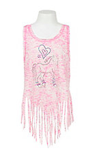 Lore Mae Girl's Pink Print with Rhinestone Horse and Fringe Sleeveless Casual Knit Shirt