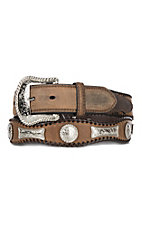 Cavender's Men's Lace Scalloped Border w/ Conchos Western Belt