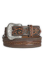Cavender's Brown Floral Embossed with Silver Buckle Western Belt
