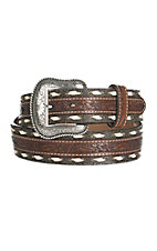 Cavender's Men's Brown Floral Embossed with Bone Laced Edge Leather Belt