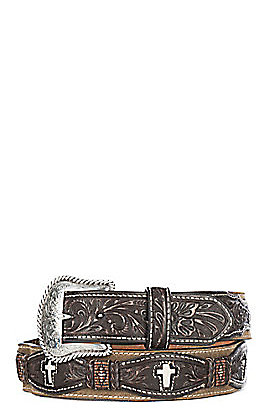Cavender's Men's Embossed Overlay with Bone Cross Western Belt