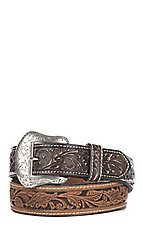Cavender's Men's Brown Leather Scroll w/ Chocolate Accent Tabs Western Belt