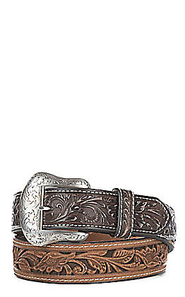 Cavender's Men's Brown Leather Scroll with Chocolate Accent Tabs Western Belt