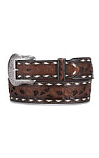 Cavender's Men's Brown w/ Chocolate Inlay and White Lace Western Belt