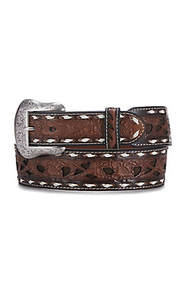 Cavender's Men's Brown with Chocolate Inlay and White Lace Western Belt